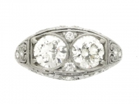 front view Bailey, Banks and Biddle two stone diamond ring, American, circa 1925.