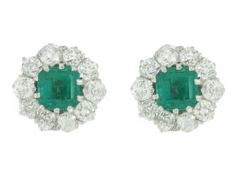 front view Antique emerald diamond earrings berganza hatton garden