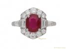 front view Art Deco ruby diamond ring berganza hatton garden