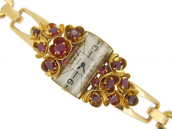 front view vintage Cartier ruby set watch berganza hatton garden