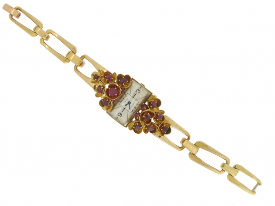 full view vintage Cartier ruby set watch berganza hatton garden