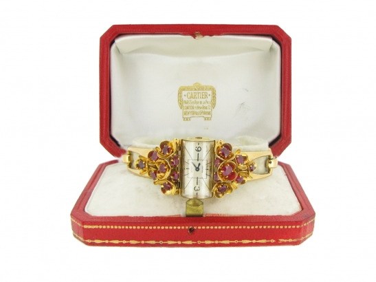 boxed view vintage Cartier ruby set watch berganza hatton garden