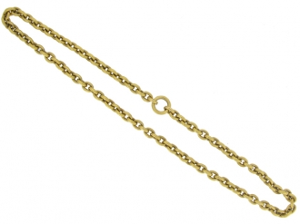 front view Antique 15 carat yellow gold chain, circa 1890.