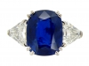 front view Natural Royal Blue Burmese sapphire and diamond ring