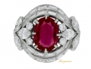 front view Burmese ruby and diamond cluster ring