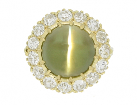 front view Antique cat's eye chrysoberyl and diamond cluster ring