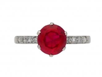 Burmese ruby and diamond ring ,circa 1920 berganza hatton garden