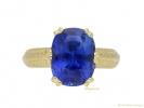 front Antique Ceylon sapphire gold ring hatton garden berganza