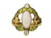 front view Art Nouveau opal ruby diamond ring berganza hatton garden