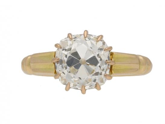 front view antique diamond gold ring berganza hatton garden