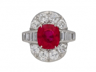 Pigeon blood Burmese ruby and diamond ring berganza hatton garden