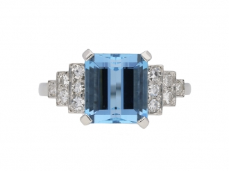 Art Deco aquamarine and diamond ring berganza hatton garden