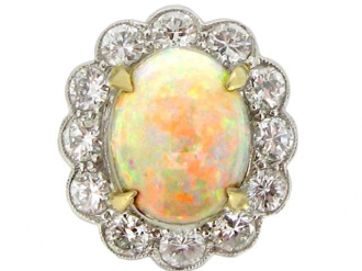 front view Opal and diamond coronet cluster ring, circa 1950.