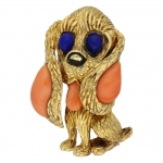 Mauboussin Paris dog brooch set with lapis, coral and onyx, circa 1970