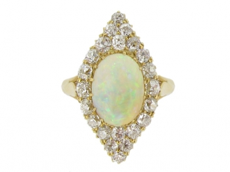 front view Antique opal and diamond cluster ring, circa 1900.