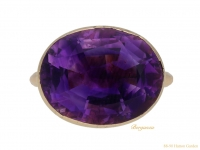 front view Georgian amethyst mourning ring, 1764.