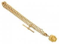 front view John Goode & Sons rose gold Albert chain with fob,