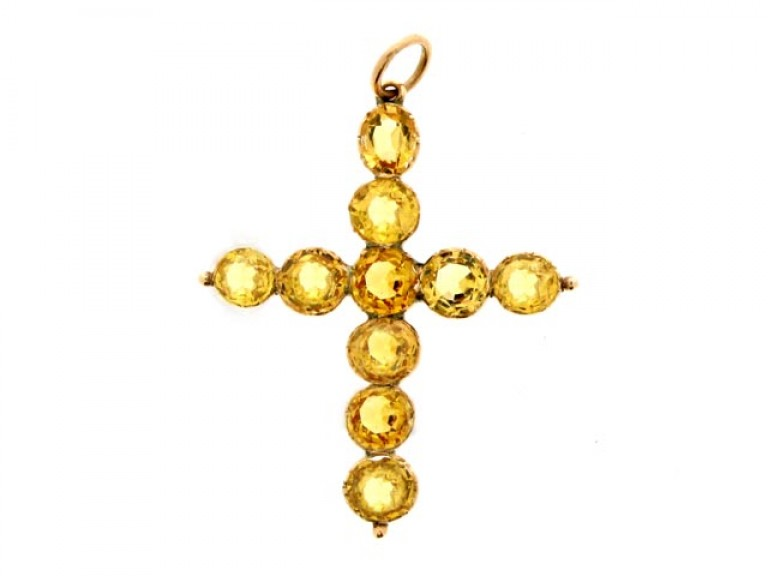 front view Antique precious topaz cross, circa 1840.