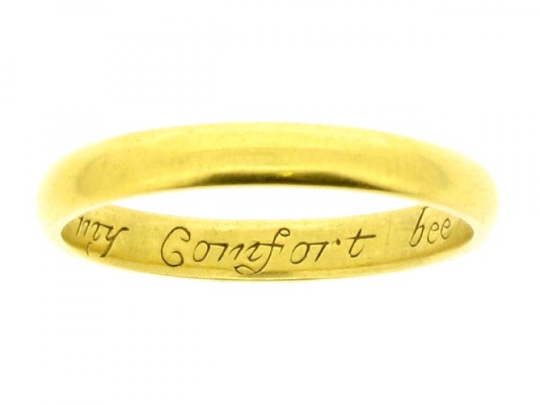 Posy ring, 'In Christ & thee my comfort bee', 17th century.