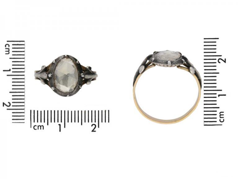 front view georigan rose cut diamond ring berganza hatton garden
