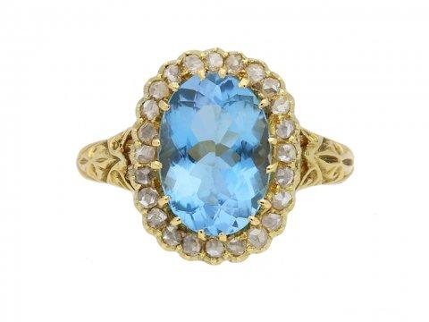 aquamarine diamond coronet cluster ring berganza hatton garden
