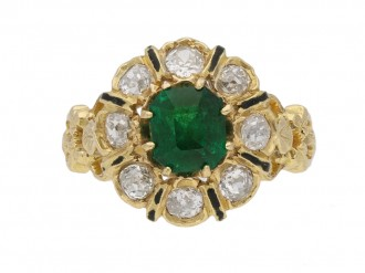 front enamel emerald diamond ring berganza hatton garden