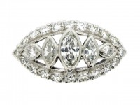 front view Old cut marquise and round diamond ring, American, circa 1950.