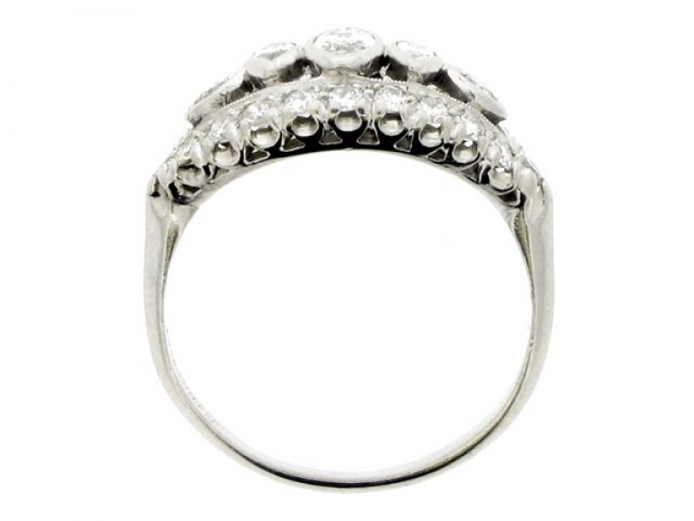 back view Old cut marquise and round diamond ring, American, circa 1950.