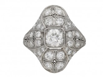 front view Art Deco diamond cluster ring berganza hatton garden