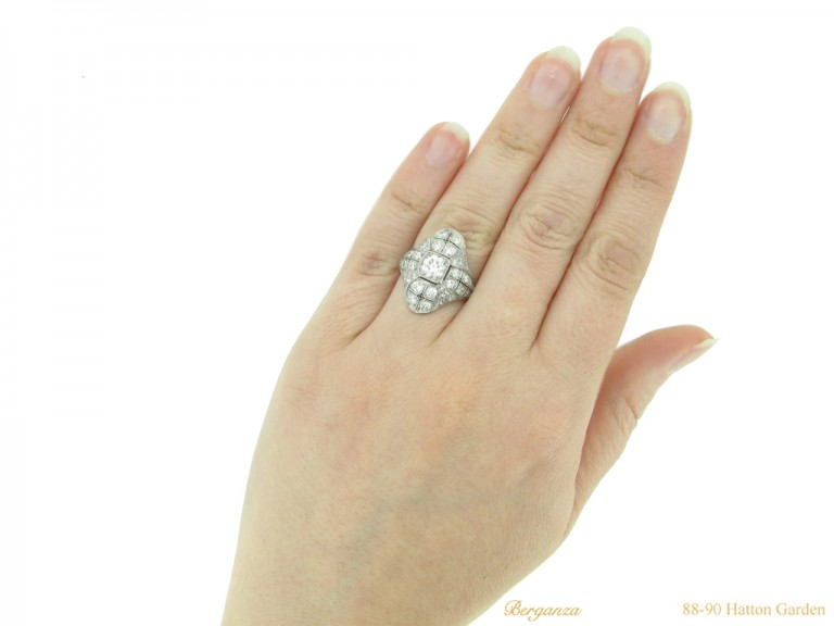 hand view Art Deco diamond cluster ring berganza hatton garden