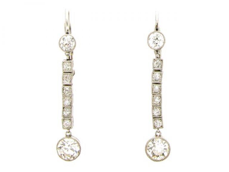 front view Diamond drop earrings, circa 1920.
