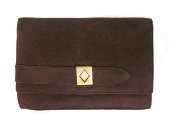 front view Cartier vintage brown suede clutch bag with 9ct gold latch.