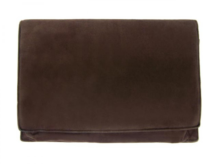 back view Cartier vintage brown suede clutch bag with 9ct gold latch.