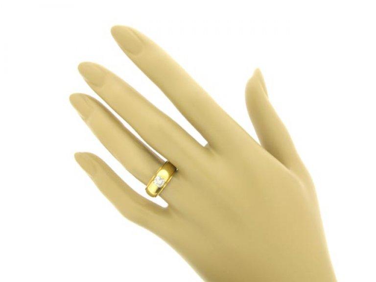 hand view Cushion shaped old mine cut diamond ring,