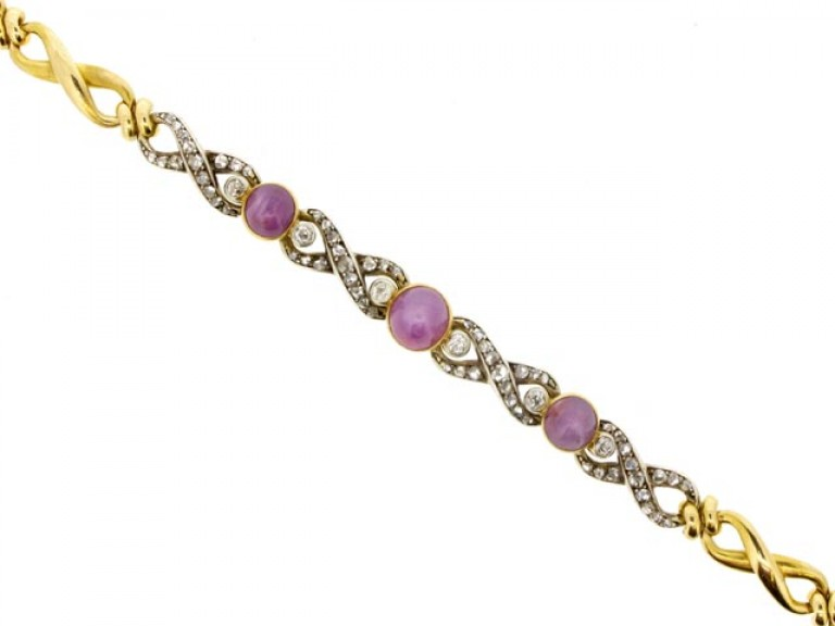 front view Antique star ruby and diamond bracelet