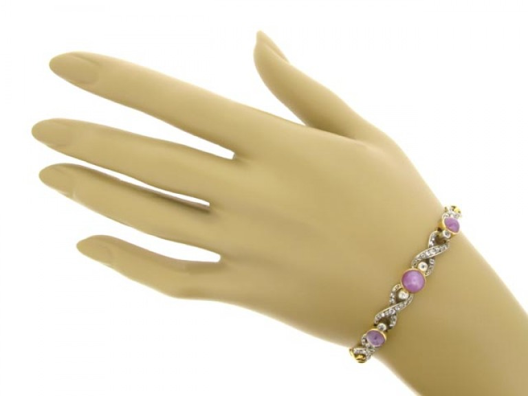 hand view Antique star ruby and diamond bracelet