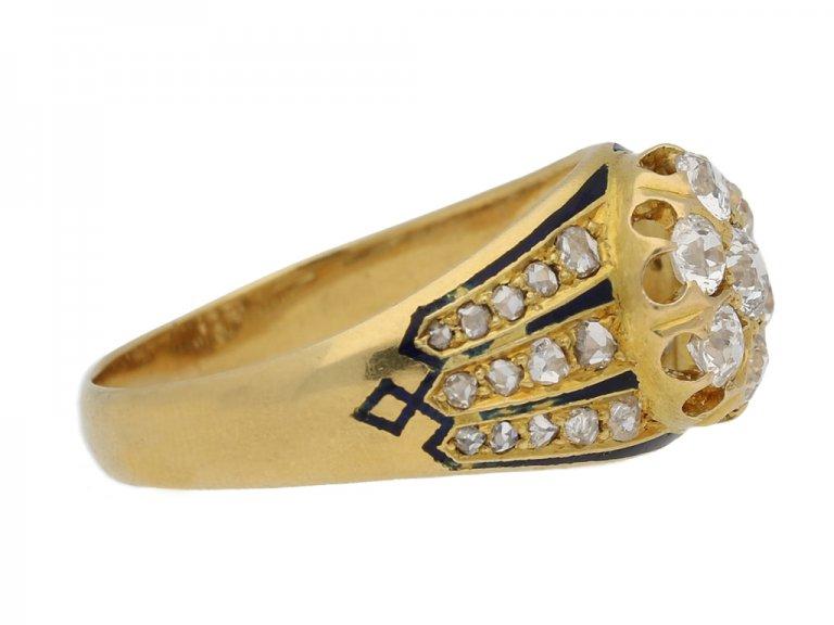 side view diamond enamel cluster ring. berganza hatton garden