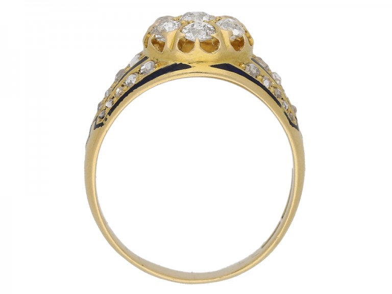back view diamond enamel cluster ring. berganza hatton garden