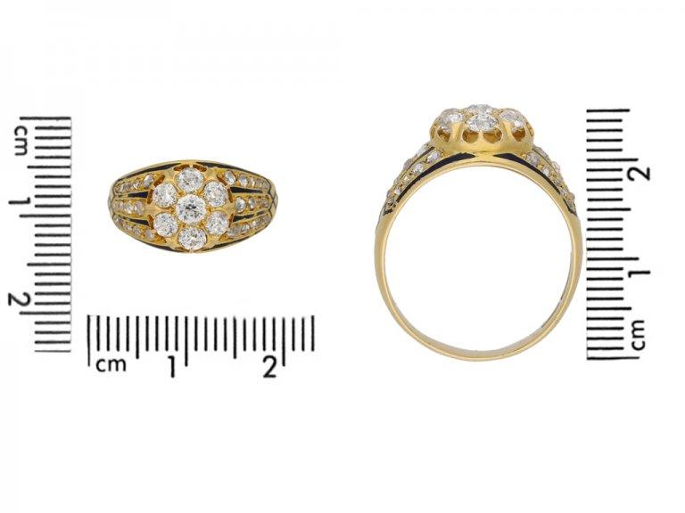size view diamond enamel cluster ring. berganza hatton garden