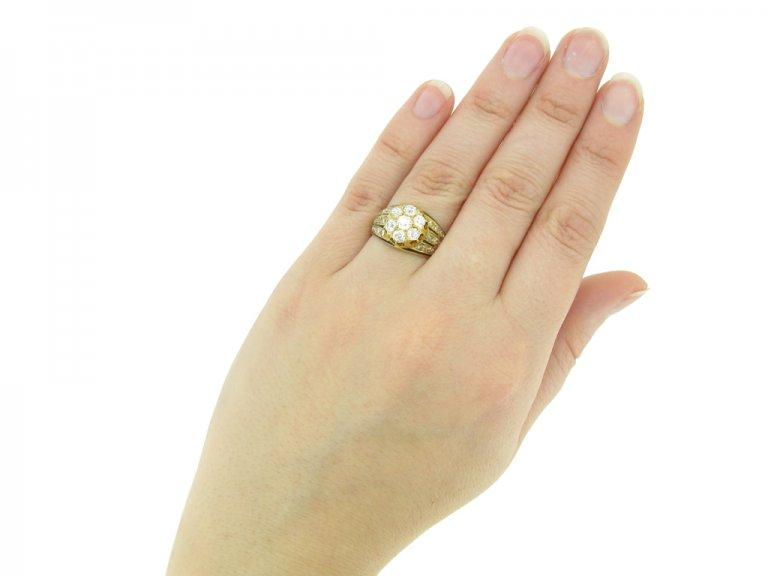hand view diamond enamel cluster ring. berganza hatton garden
