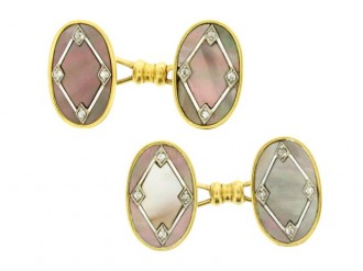Edwardian diamond, mother of pearl and enamel cufflinks, French, circa 1905.