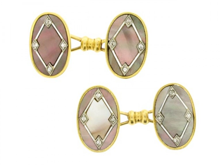 Diamond, mother of pearl and enamel cufflinks, French, circa 1905.