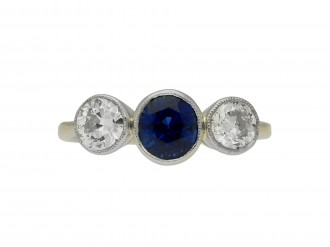 front view Antique old mine diamond ring with black enamel,