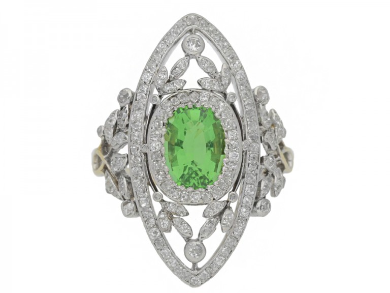 front view Belle Epoque green garnet and diamond dress ring, French, circa 1905.