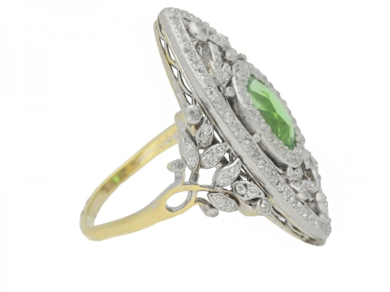 side view Belle Epoque green garnet and diamond dress ring, French, circa 1905.