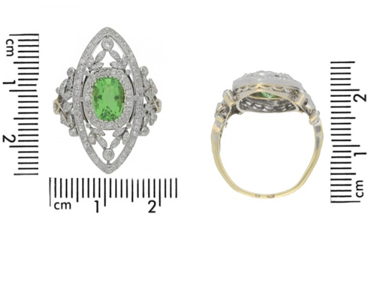 size view Belle Epoque green garnet and diamond dress ring, French, circa 1905.
