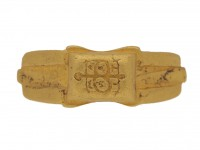 front view Ancient Roman gold signet ring, 3rd century AD.