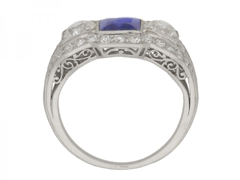 back view Art Deco sapphire and diamond ring, circa 1925.