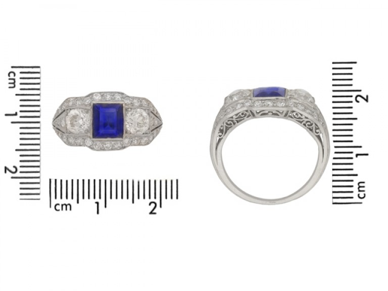 siz eview Art Deco sapphire and diamond ring, circa 1925.