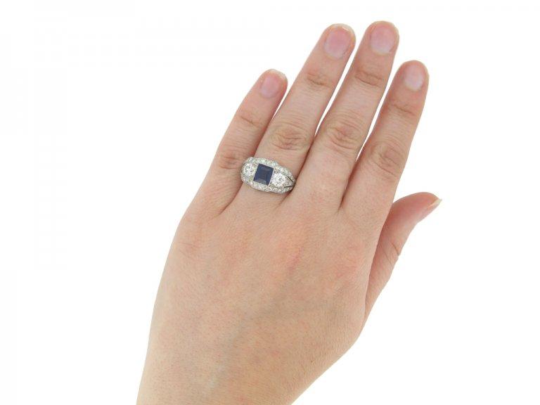 hand view Art Deco sapphire and diamond ring, circa 1925.